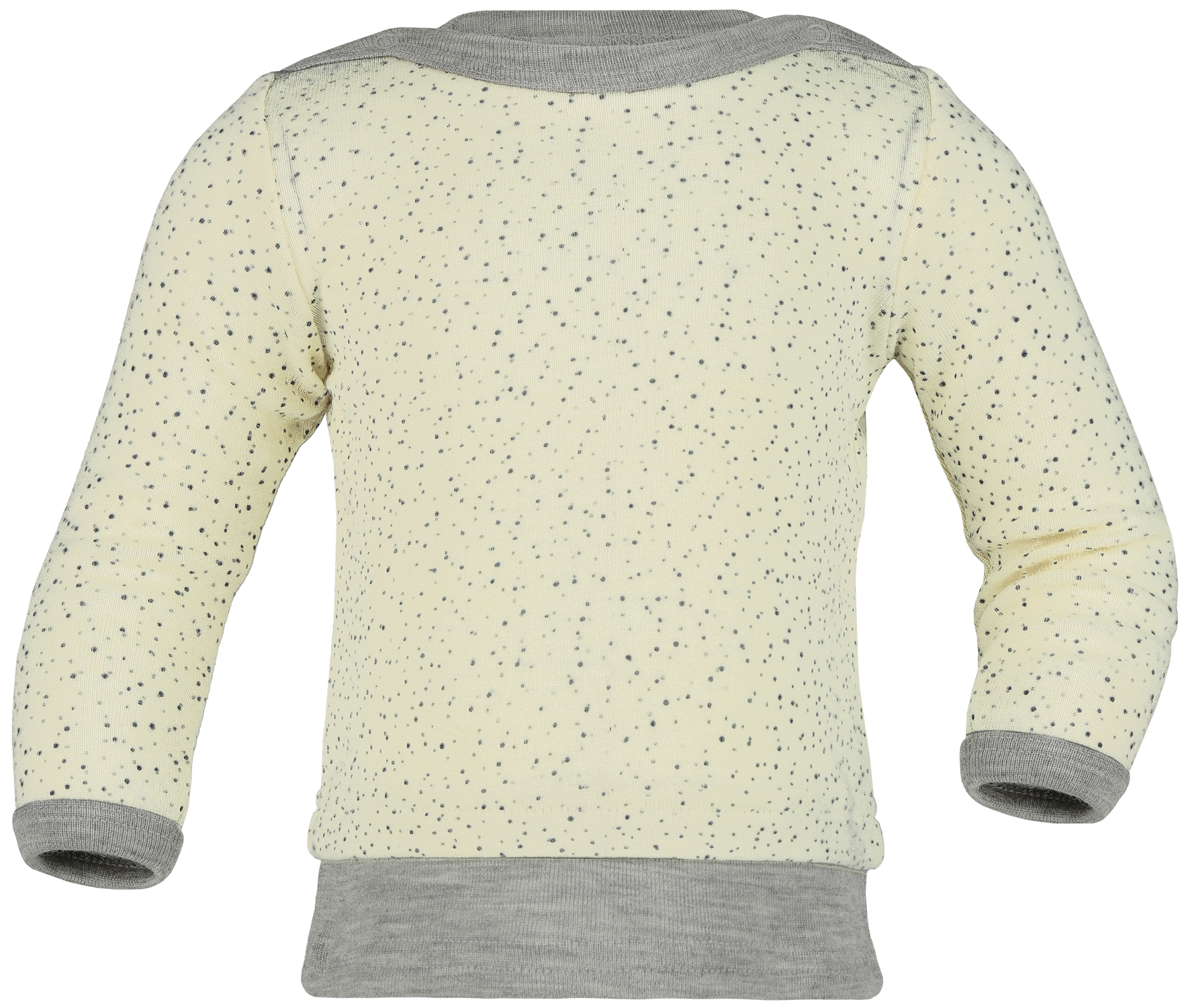 Upon order: Baby wool-silk sweater, with press-studs on the shoulder, printed